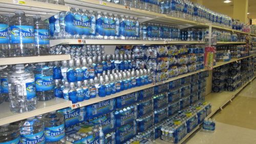 bottles of water in the supermarket